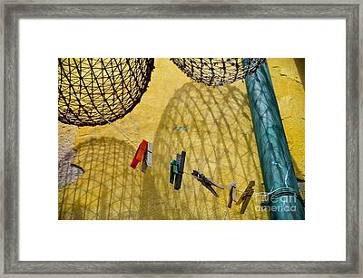 Clothesline And Fish Traps Framed Print