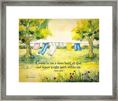 Clothesline Psalm 51 Framed Print