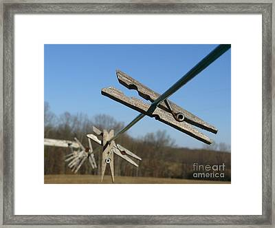 Framed Print featuring the photograph Clothespin In Winter by Jane Ford