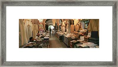 Clothing Stores In A Market, Souk Framed Print