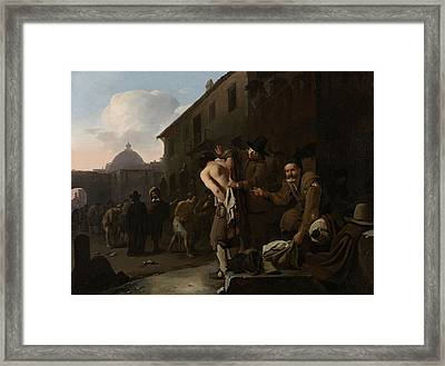 Clothing The Naked, Michael Sweerts Framed Print by Litz Collection
