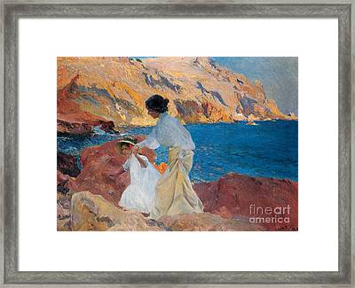 Clotilde And Elena On The Rocks Framed Print by Joaquin Sorolla y Bastida