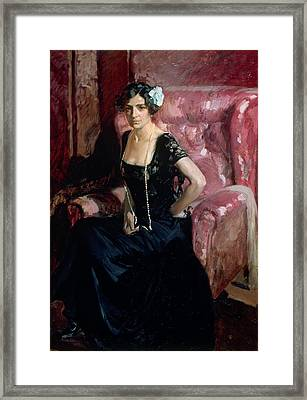 Clotilde In Evening Dress Framed Print by Celestial Images