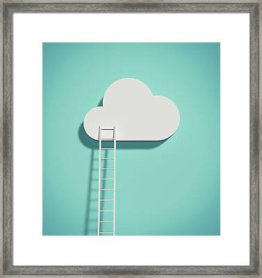 Cloud And Ladder Framed Print by Yagi Studio