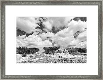 Cloud Creators - Twin Geysers Steaming Under A Dramatic Sky In Yellowstone National Park. Framed Print by Jamie Pham
