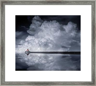 Cloud Desending Framed Print