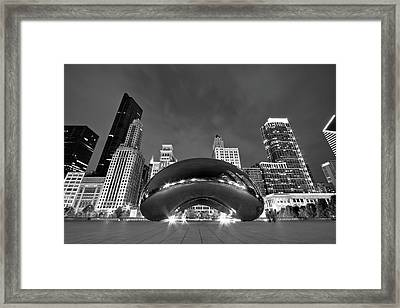 Cloud Gate And Skyline Framed Print