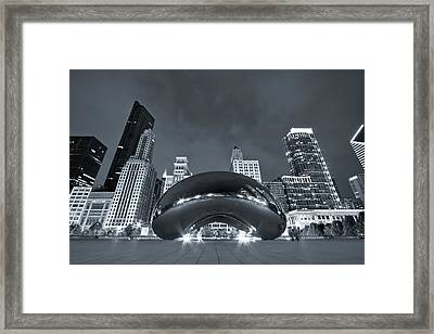 Cloud Gate And Skyline - Blue Toned Framed Print by Adam Romanowicz
