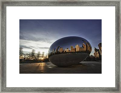 Cloud Gate At Sunrise Framed Print by Sebastian Musial