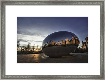 Cloud Gate At Sunrise Framed Print by Sebastian Musial