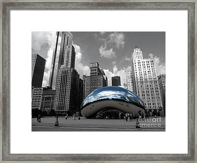 Cloud Gate B-w Chicago Framed Print