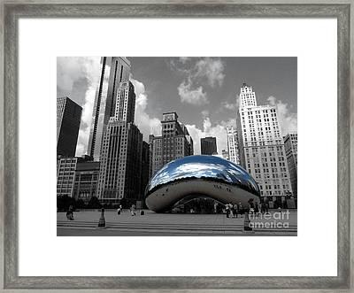 Cloud Gate B-w Chicago Framed Print by David Bearden