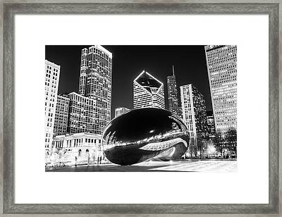 Cloud Gate Chicago Bean Black And White Picture Framed Print