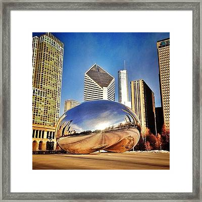 Cloud Gate chicago Bean Sculpture Framed Print