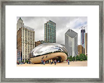 Framed Print featuring the photograph Cloud Gate In Chicago by Mitchell R Grosky
