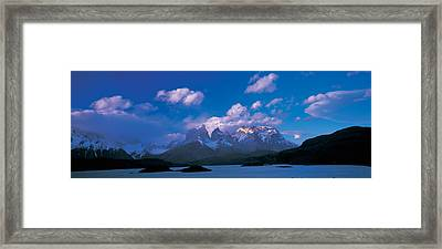 Cloud Over Mountains, Towers Of Paine Framed Print