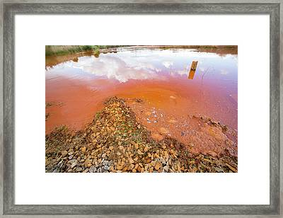 Cloud Reflected In Mine Effluent Framed Print by Ashley Cooper