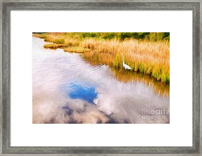 Cloud Reflection In Water Digital Art Framed Print