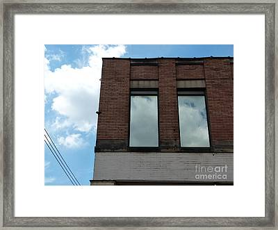 Cloud Reflection On Window Framed Print