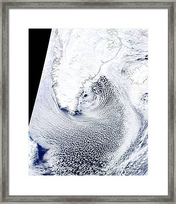 Cloud Streets, Greenland, Satellite Framed Print by Science Photo Library