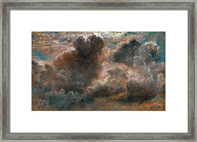 Cloud Study Study Of Cumulus Clouds Label Affixed Framed Print
