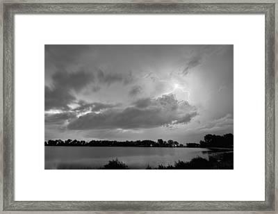 Cloud To Cloud Lake Lightning Strike In Bw Framed Print