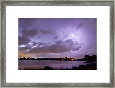 Cloud To Cloud Lake Lightning Strike Framed Print