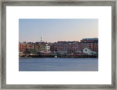 Cloudless Portsmouth Skyline Framed Print by Eric Gendron