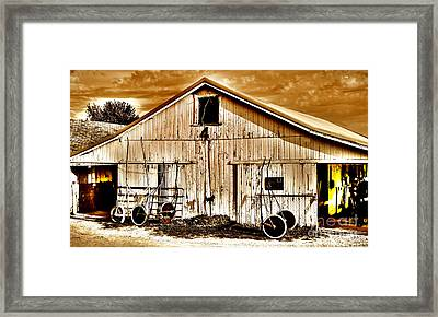 Clouds A Loom'n On Race Day Framed Print