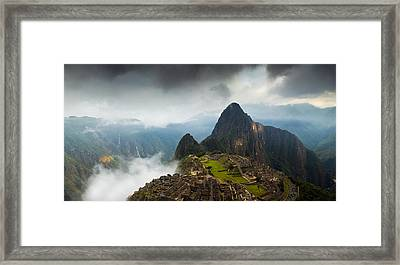 Clouds About To Envelop Machu Picchu Framed Print by Alison Buttigieg