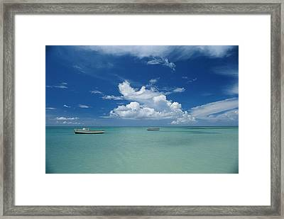 Clouds And Boats, Aruba Framed Print by Skip Brown