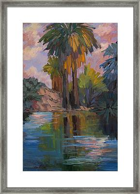 Clouds And Palm Trees Framed Print by Diane McClary