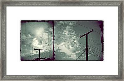Clouds And Power Lines Framed Print