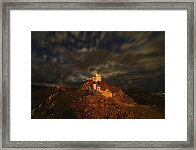 Clouds And Stars Over Tsemo Framed Print by Aaron Bedell