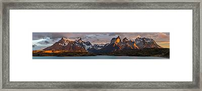 Clouds At Sunrise Over Paine Grande L Framed Print by Panoramic Images