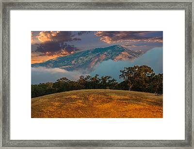 Clouds Fog And Mt Diablo Framed Print