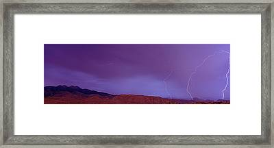 Clouds Lightning Over The Mountains, Mt Framed Print by Panoramic Images