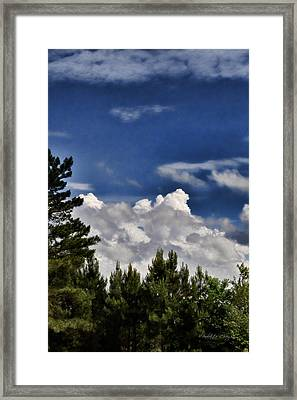Clouds Like Mountains Behind The Pines Framed Print by Paulette B Wright