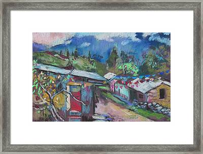 Framed Print featuring the painting Clouds Of The Andes by Linda Novick
