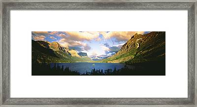 Clouds Over A Lake, St. Mary Lake Framed Print by Panoramic Images