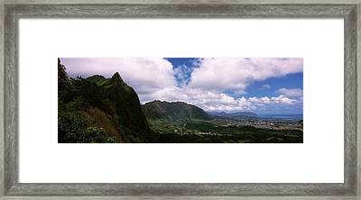 Clouds Over A Mountain, Kaneohe, Oahu Framed Print by Panoramic Images