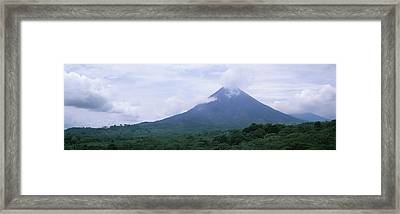 Clouds Over A Mountain Peak, Arenal Framed Print
