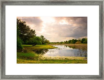 Clouds Over A Pond At Washington On The Brazos - Texas Framed Print by Ellie Teramoto