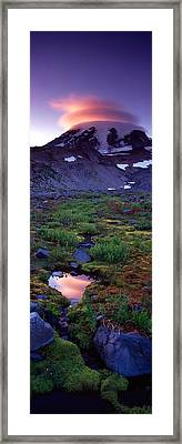 Clouds Over A Snowcapped Mountain, Mt Framed Print by Panoramic Images
