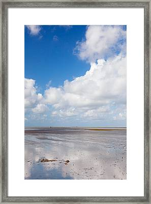 Clouds Over Beach, Wattenmeer Bei Ebbe Framed Print by Panoramic Images