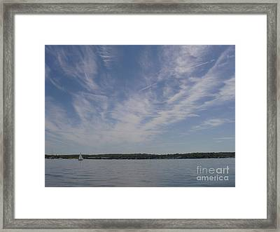 Framed Print featuring the photograph Clouds Over Long Island Sound by John Telfer