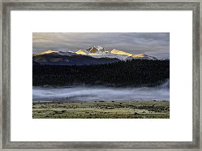 Clouds Over Longs Peak Framed Print by Tom Wilbert