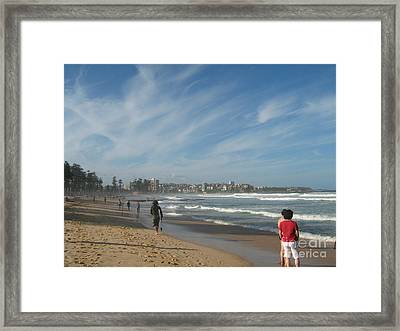 Framed Print featuring the photograph Clouds Over Manly Beach by Leanne Seymour