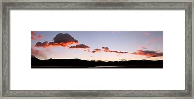 Clouds Over Mountains At Sunrise, Lago Framed Print