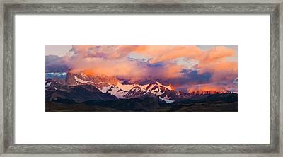 Clouds Over Mountains At Sunrise, Monte Framed Print by Panoramic Images